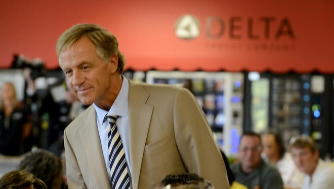 Gov. Bill Haslam visited Delta Faucet to celebrate the company's 20th anniversary Wednesday.