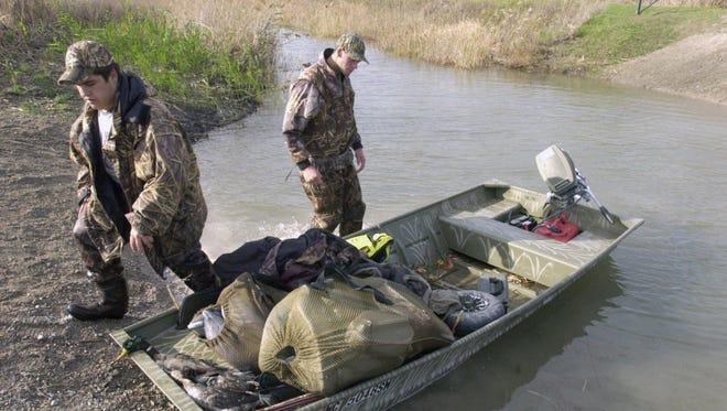 Shad Hojnacki and Jesse Barnes shot a handful of ducks during their hunt on Harsens Island.