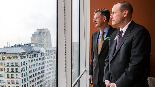 WSFS Executives Mark Turner (left) and Rodger Levinson (right) pose for a portrait at the company's Downtown Wilmington office on Thursday afternoon.