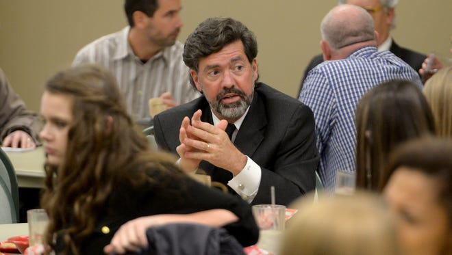 Tennessee Court of Criminal Appeals Judge Timothy Easter shares information about the law, crimes, law schools and law practices during a lunch at Union University on Tuesday.