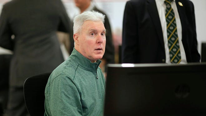 Green Bay Packers general manager Ted Thompson inside the war room during the NFL draft at Lambeau Field.