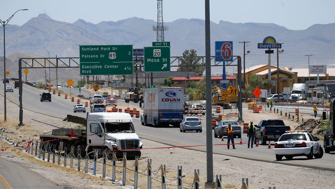 El Paso police investigate a traffic fatality Monday on Interstate 10 West near the Mesa Street exit, which caused a major traffic backup in the area. Members of the police Special Traffic Investigations unit were on the scene when this photo was taken.