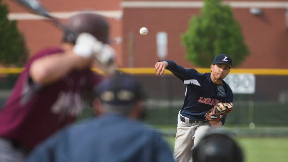 Lebanon's Michael Deleon delivers a pitch as Lebanon defeated Manheim Central 9-2 on Tuesday, May 10, 2016.