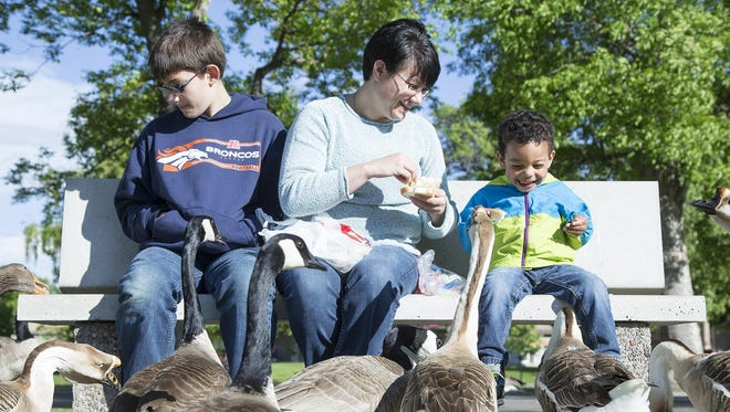 From left, J.J., 13, Marilyn, and Sam, 3, feed geese at Gibson Park on Wednesday. Marilyn adopted both children and has fostered many others.