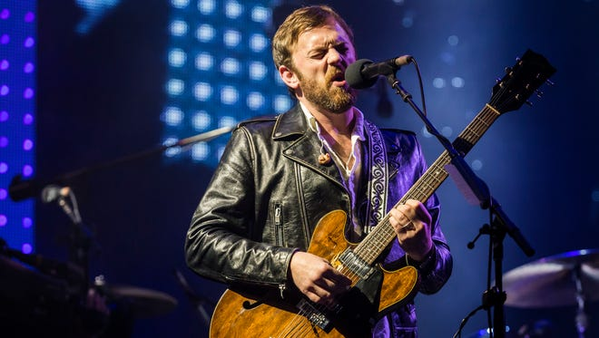 Caleb Followill performs with Kings of Leon on the Main Stage at the Firefly Music Festival on Friday night.