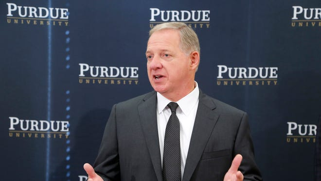 Mike Bobinski fields questions from the media following his introduction as the new athletic director Tuesday, August 9, 2016, at Purdue University. Bobinski had been the athletic director at Georgia Institute of Technology since 2013. He had also served in the same position previously at the University of Akron and Xavier University.