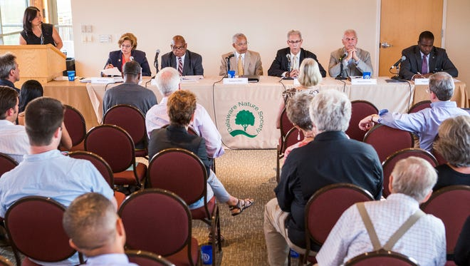 Wilmington mayoral candidates debate environmental issues facing the city at the DuPont Environmental Education Center in Wilmington on Thursday night.