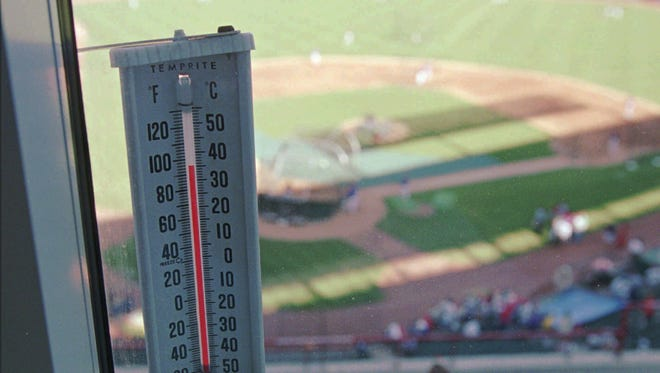 The mercury drops below the 100 degree mark as the Texas Rangers take batting practice in Arlington, Texas, Monday, Aug. 5, 1996. Texas's hot summers are often blamed for the Rangers's failure to ever have made post season play. (AP Photo/Eric Gay) ORG XMIT: ARL102