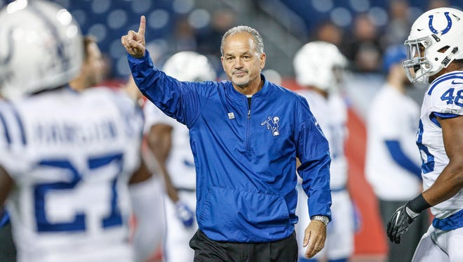 Indianapolis Colts head coach Chuck Pagano signals to his team just before kickoff against the Tennessee Titans at Nissan Field in Nashville, Tenn., on Monday, Oct. 16, 2017.