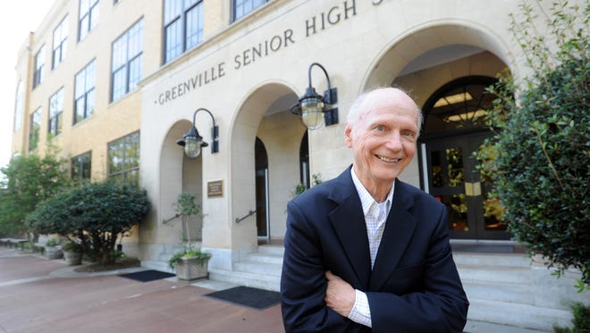 Former U.S. Secretary of Education and Gov. Dick Riley, a graduate of Greenville High School, talks about the school's Wall of Fame on Aug. 31, 2012.