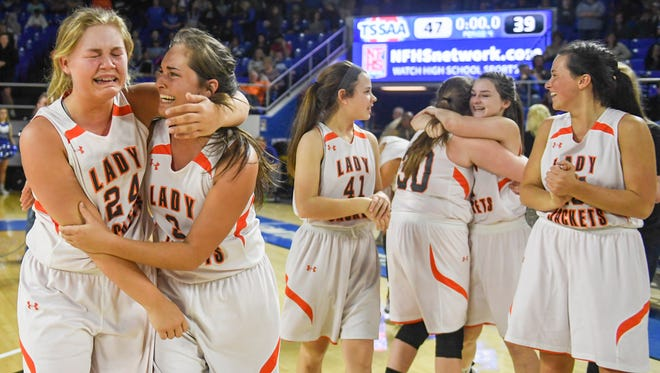 Greenfield's Anna Dale Wright and Greenfield's Makayla Little celebrate after defeating Summertown, 47-39, to become the 2018 Class A Championships, Saturday, March 10, in Murfreesboro.