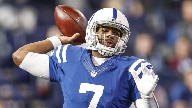 Indianapolis Colts quarterback Jacoby Brissett (7) delivers a pass against the Houston Texans at Lucas Oil Stadium on Sunday, Dec. 31, 2017.