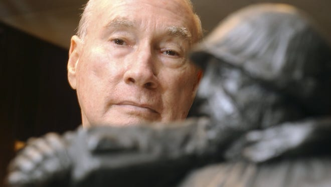 Sculptor Frank Gaylord of Barre with one of his models for the Korean War memorial he created in Washington D.C.