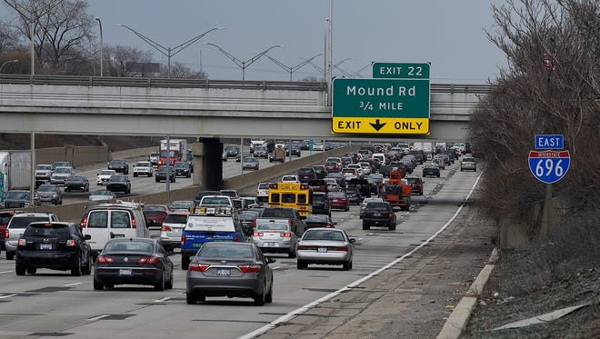 Traffic on I-696 near Mound Round Friday afternoon.