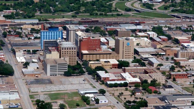 An aerial view of a portion of downtown Wichita Falls, facing east, taken on May 6, 2018.