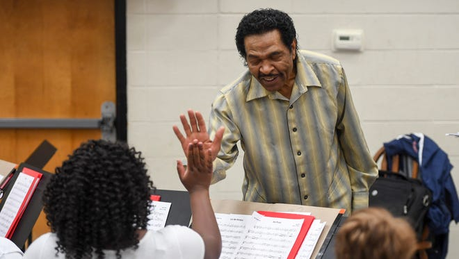 Bobby Rush spoke to students at the Denise La Salle Blues Academy of Performing Arts, Wednesday, June 6, inside the Jackson Central-Merry High School auditorium.