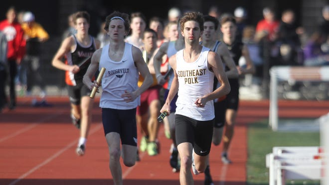 Southeast Polk's Matt West leads the pack on the first leg of the 4x800-meter relay. The Simpson College High School Classic was held March 26 in Indianola.