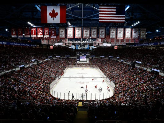 FILE - In this Oct. 17, 2016, photo, the Detroit Red Wings play the Ottawa Senators in the first period of an NHL hockey game at Joe Louis Arena in Detroit. The arena will be the home of the Detroit Red Wings one more time on Sunday, April 9, 2017, when they host the New Jersey Devils. (AP Photo/Paul Sancya, File)