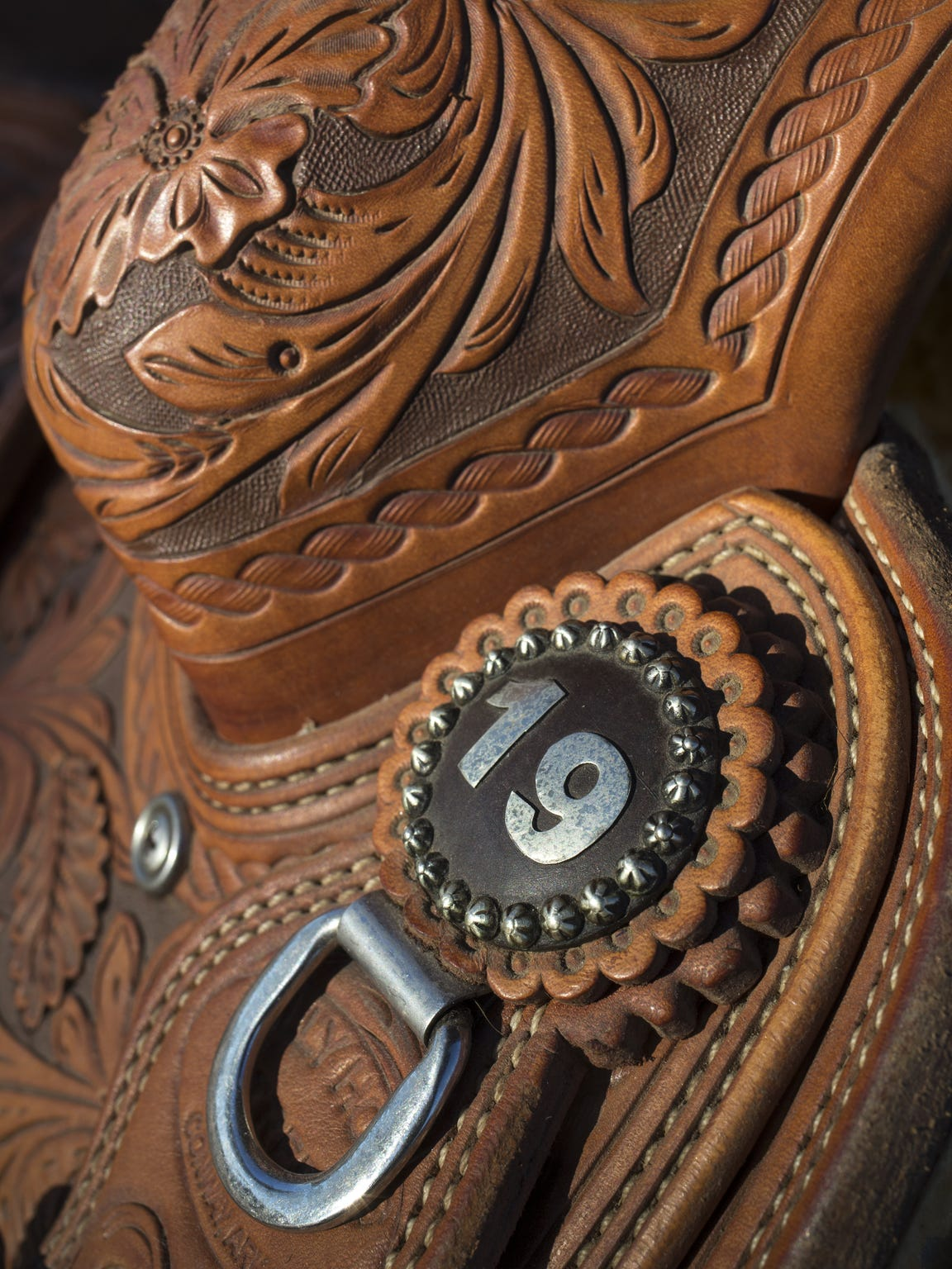 """The Coyotes gifted Shane Goan a saddle with """"19"""" branded"""