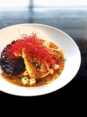 """The snapper entrée with """"forbidden rice"""" from chef"""
