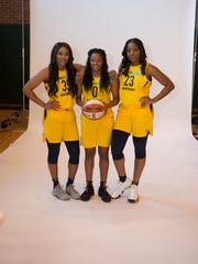 Indiana Fever Victoria Vivians, Kelsey Mitchell and