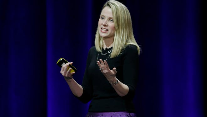 Yahoo President and CEO Marissa Mayer delivers the keynote address at the first-ever Yahoo Mobile Developer Conference in San Francisco on Feb. 19, 2015.