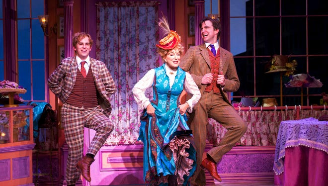 """This image released by O&M/DKC shows Taylor Trensch, fromleft, Bette Midler, and Gavin Creel during a performance of """"Hello, Dolly!"""" in New York."""