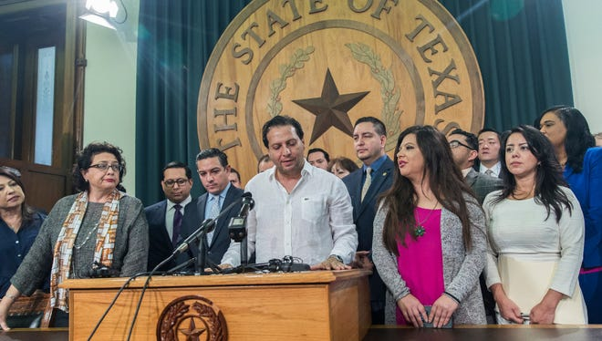 """Texas House Rep. Poncho Nevarez of district 74 speaks about the altercation that he was involved on the house floor during the last day of session at the state Capitol in Austin Monday. A raucous end to a divisive Texas legislative session erupted Monday when a large protest over a """"sanctuary cities"""" crackdown provoked a heated scuffle between lawmakers on the House floor."""