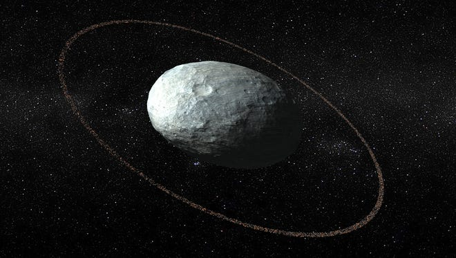 An artist's conception of Haumea and its ring system.  The ring was discovered by telescopes on Jan. 21, 2017.