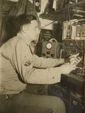 Army corporal Arthur Seltzer with advanced radio equipment during  World War II.