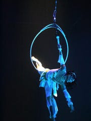 An aerialist performs during a Circus Vargas first