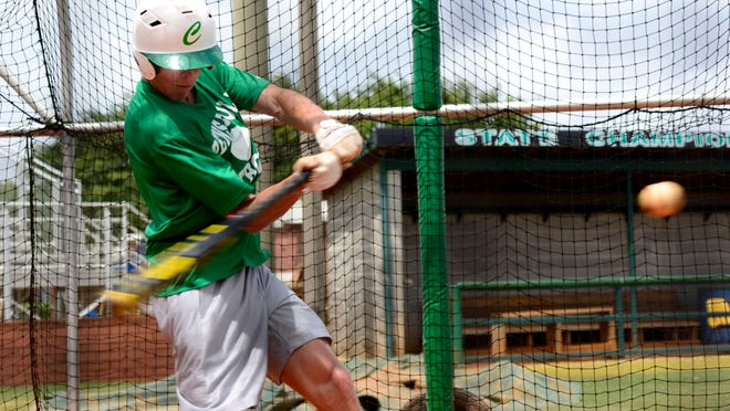 Catholic High's Brandon Lockridge takes batting practice Monday before the Crusaders head to Jacksonville for tomorrow's regional championship against Trinity Christian.