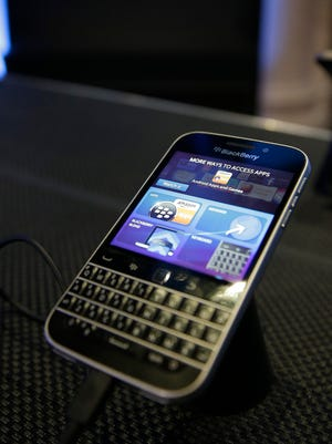 The Blackberry Classic shown on display after public launch in New York City.