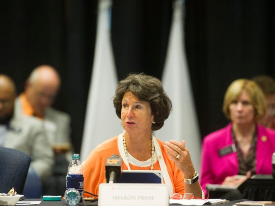 Trustee Sharon Pryse speaks during the annual UT Board of Trustees meeting, where topics such as 2017-2018 tuition rates, a salary increase for President Joe DiPietro, and a plan to award bonuses to other top administrators were discussed, on UT Knoxville's campus Thursday, June 22, 2017.