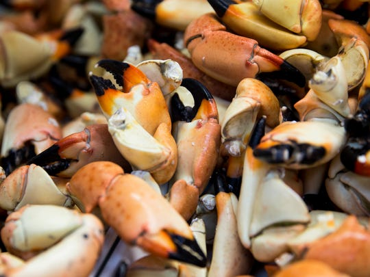 The last catch of stone crab claws for the season sit for sale during the last business day at Kirk Fish Co. in Goodland, Fla., on Saturday, May 13, 2017. The commercial and recreational harvest of stone crab claws in Florida closes on Tuesday, May 16, with the last day of harvest Monday, May 15.