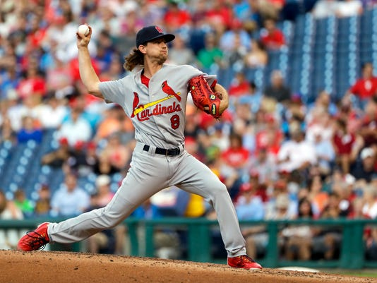 St. Louis Cardinals' Mike Leake pitches during the second inning of a baseball game against the Philadelphia Phillies, Tuesday, June 20, 2017, in Philadelphia. (AP Photo/Matt Slocum)