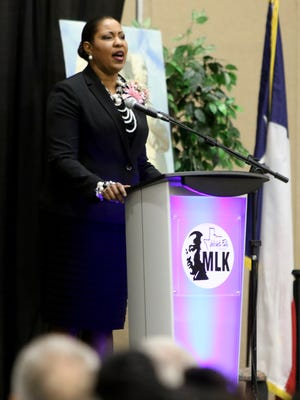 Mineasa Nesbit sings Saturday, Jan. 20, 2018, during the 29th Annual Dr. Martin Luther King, Jr. Scholarship and Prayer Breakfast at the MPEC.