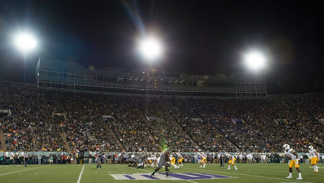 CSU's football team faced Wyoming on Oct. 1 at Hughes Stadium in the first of three straight late-night games for the Rams. CSU's final game at Hughes, Nov. 19 against New Mexico, will start at 8:15 p.m., officials with ESPN and the Mountain West announced Monday.