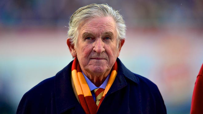 Former Iowa State coach Johnny Majors is shown on the Cyclones sidelines at the 2012 Liberty Bowl in  Memphis, Tennessee.