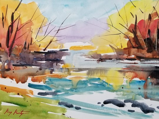 Water color painting of the Pigeon River.