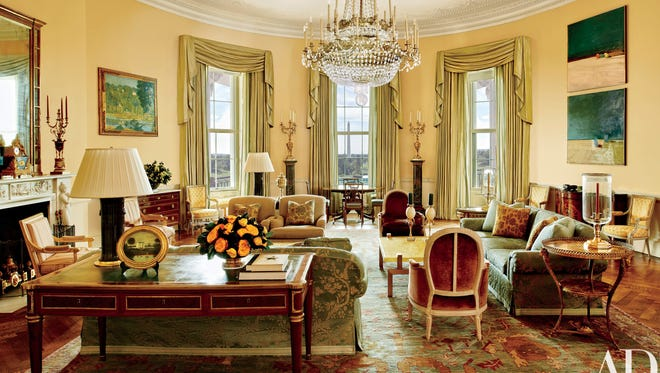 The Yellow Oval Room in the White House in a cover story in 'Architectural Digest.'
