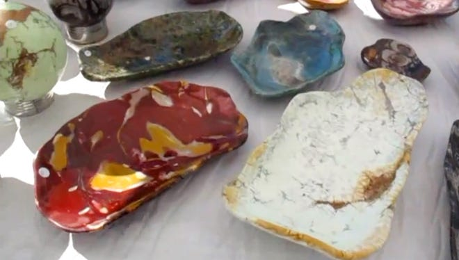 Raw materials and finished pieces are for sale at the rock, gem and mineral shows in Quartzsite every winter