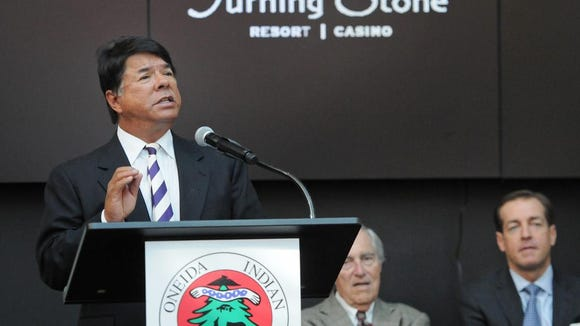 Oneida Nation Representative and Nation Enterprises CEO Ray Halbritter announces Oneida Nation's plan for a luxury retail outlet and entertainment complex at Turning Stone Resort Casino.
