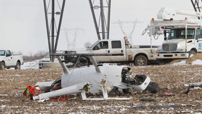 The pilot of this helicopter died about 3:50 p.m. Tuesday when his aircraft crashed on White County Road 700 South near County Road 150 South.