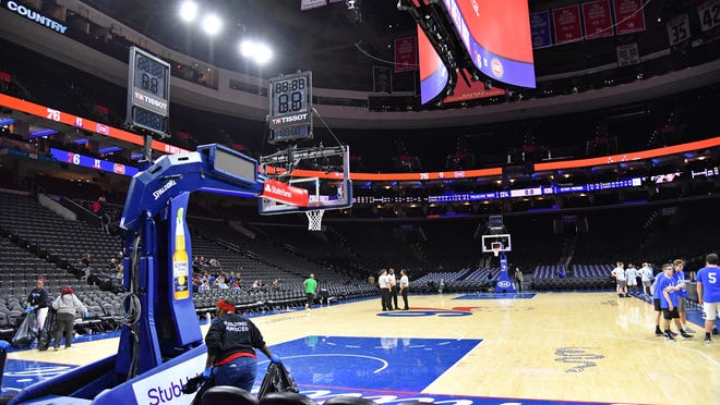 A view of the arena after a game between the Philadelphia 76ers and Detroit Pistons at Wells Fargo Center on March 11, right before the NBA shut down for the coronavirus pandemic.