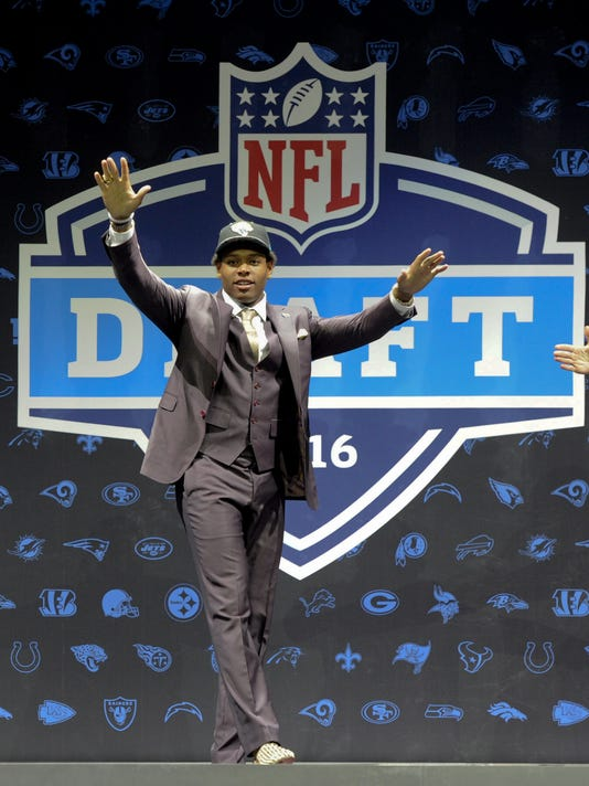 Jalen Ramsey after being selected by the Jacksonville Jaguars as their  top pick in the first round of the 2016 NFL football draft Thursday, April 28, 2016, in Chicago. (AP Photo/Matt Marton)