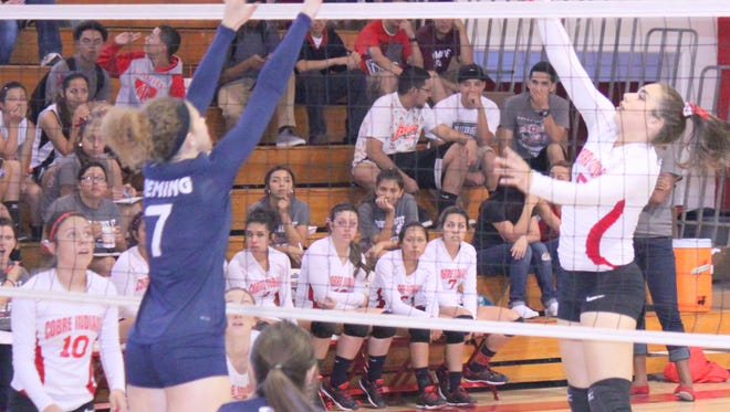 Cobre's Jessica Martinez tallied 13 kills on the night before she was injured and had to leave in the second set against Deming.