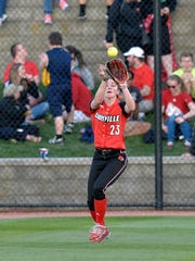 Kelsi Jones Rynard, shown here playing for Louisville in 2015, will take over as Harrison softball coach. Jones Rynard starred at Carmel and is an Indian Softball Hall of Famer.  (Timothy D. Easley, Special to the C-J)