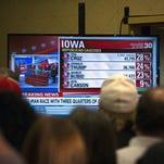 TV screen, Feb. 1, 2016, West Des Moines, Iowa.