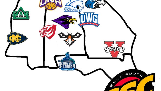 Gulf South Conference map of member schools.